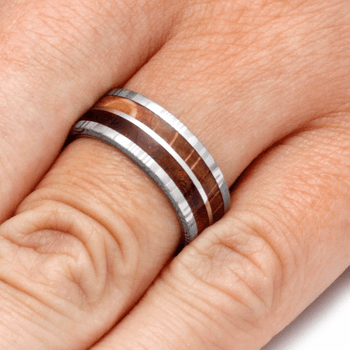 7.5 mm 14 Kt White Gold with Damascus, KOA and Oak Woods - P144M