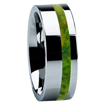 8 mm Unique Titanium Wedding Bands with Green Box Elder Wood - B122M-GreenBE