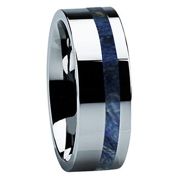 8 mm Unique Wedding Bands in Titanium with Blue Box Elder Wood Inlay - B122M-BlueBE