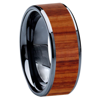 8 mm Wedding Bands - Black Ceramic & Tulip wood Inlay - BC115M-Tulip