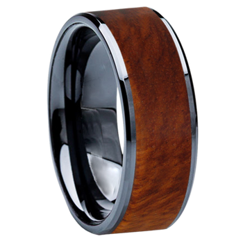 8 mm Wedding Bands - Black Ceramic & Amboyna Wood Inlay - BC115M-Amboyna