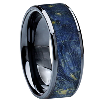 8 mm Wedding Bands - Black Ceramic & Blue BEB Wood Inlay - BC115M-BlueBEB