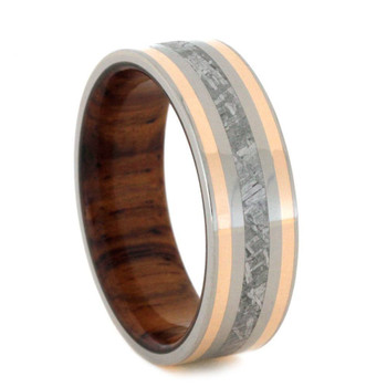 7 mm Titanium with Meteorite & 14 Kt Rose Gold Inlay - RG798M