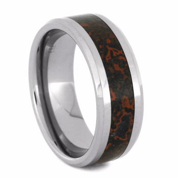 8 mm Dinosaur Bone Mens Wedding Bands in Tungsten - D138M