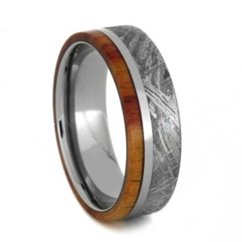 7 mm Meteorite Mens Wedding Bands in Titanium - TM852M