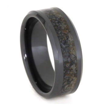 8 mm Unique Mens Wedding Bands with Black Ceramic/Dino Bone - BC331M