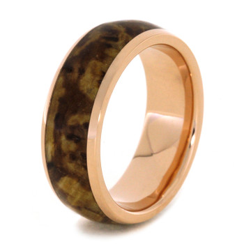 8 mm - 14 kt. Rose Gold & Black Ash Burl Wood Inlay - BRG974M