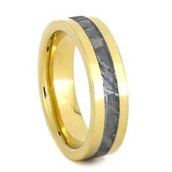 5 mm Meteorite Inlay in 14 Kt Yellow Gold - YG817M
