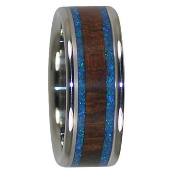 9 mm Blue Opal, Dark KOA Inlay, Titanium Mens Wedding Bands - DK200H