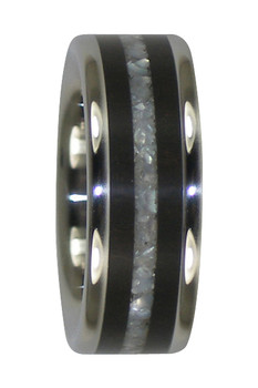 8 mm White Pearl & African Black Wood Inlay, Titanium - WP555H