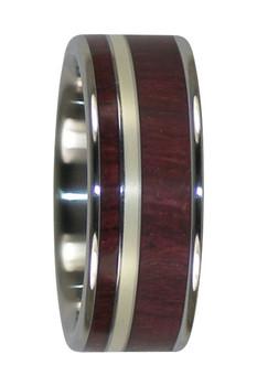 8 mm Purple Heart Wood & 14 Kt. Green Gold Inlay, Titanium - GG888H