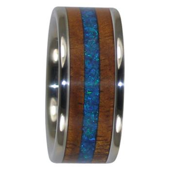 9 mm Blue Peacock Opal, KOA Inlay, Titanium - PO144H