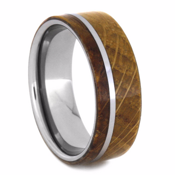 8 mm Tungsten with Authentic Whiskey Barrel Inlay - W136M