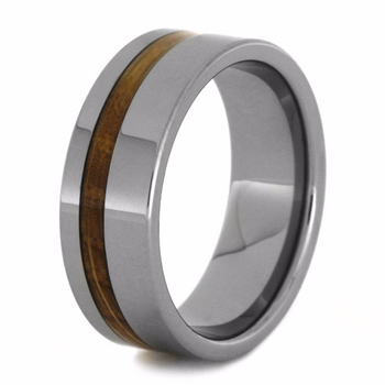 8 mm Tungsten with Authentic Whiskey Barrel Inlay - W182M