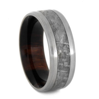 8 mm Titanium with Gibeon Meteorite and Ironwood - M182M