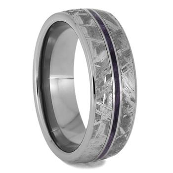 7 mm Titanium with Purple Box Elder Wood and Meteorite Ring - BE011M