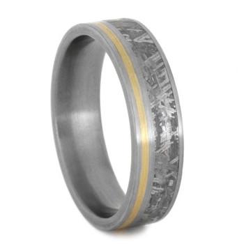 6.25 mm Titanium with Meteorite & 14 Kt Yellow Gold Inlay - YG268M