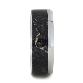 8 mm Black Box Elder Burl Wood in Tungsten - T145M