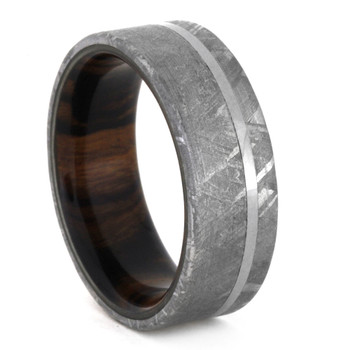 8 mm Meteorite with Ironwood Sleeve in Titanium - MS305M