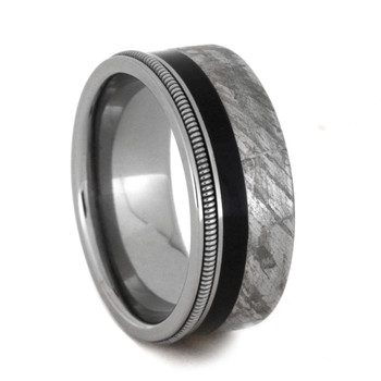 8 mm Mens Wedding Bands with Ebony and Meteorite - MGS404M