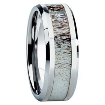 8 mm Antler Mens Wedding Bands in 14 kt. White Gold  - W8G121M