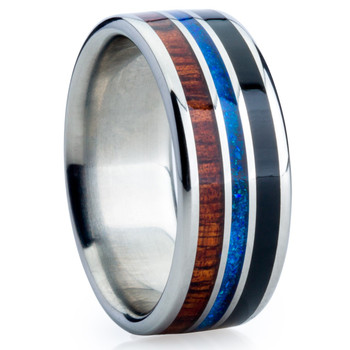 9 mm Unique Bands -  Dark KOA and Black/Blue Jet Opal - NA575JH