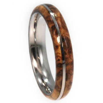 6 mm Titanium with Black Ash Burl Wood Inlay - B447M