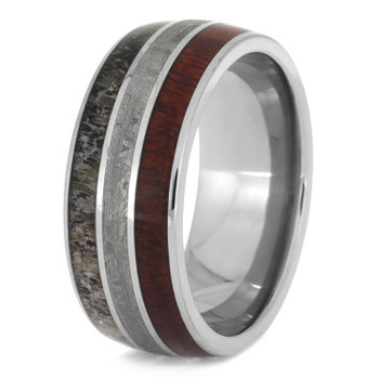 9 mm Titanium with Deer Antler, Bloodwood, Meteorite - BW612M