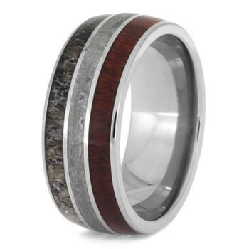 9 mm Titanium with Deer Antler, Bloodwood, Meteorite - BW612M