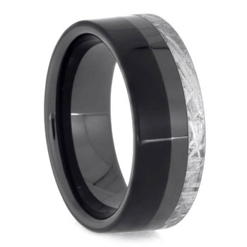 8 mm Unique Mens Wedding Bands with Black Ceramic/Meteorite - BC551M