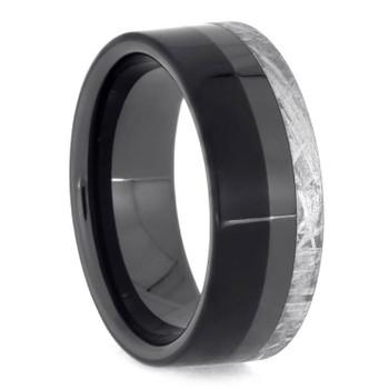 8 mm Unique Mens Wedding Bands with Black Ceramic/Meteorite - BC551M