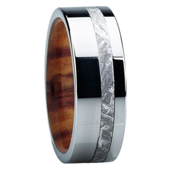 8 mm Meteorite Mens Wedding Bands in wood/Titanium - E118M-Ironwood