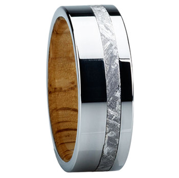 8 mm Meteorite Mens Wedding Bands in wood/Titanium - E118M-Oak
