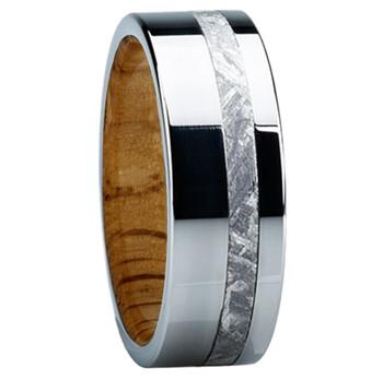 8 mm Meteorite Mens Wedding Bands in wood/Titanium - E118M-Oak
