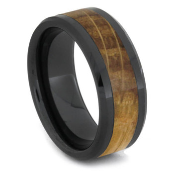8 mm Wedding Bands - Black Ceramic & Whiskey Barrel Wood - BC620M