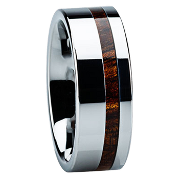 8 mm Marblewood Mens in Tungsten, Wedding Bands - TT116M