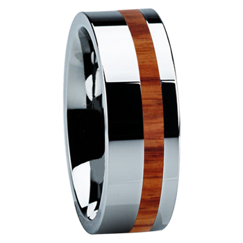 8 mm Unique Tungsten Wedding Bands with Tulip Wood - TT122M-Tulip
