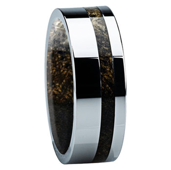 8 mm Mens Wedding Bands, Titanium with Buckeye Inlay - B122M - Sleeve