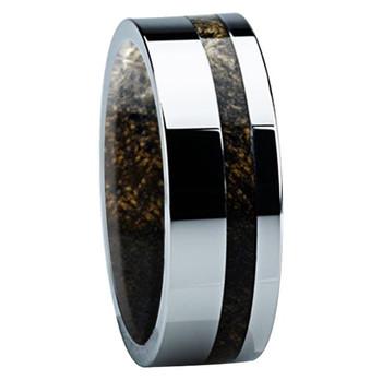 8 mm Mens Wedding Bands, Titanium with Buckeye Inlay - B122M - Sleeve