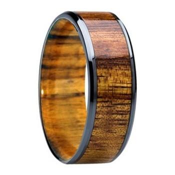 8 mm Mens Wedding Bands - KOA Wood Inlay & Sleeve- K121M-Sleeve