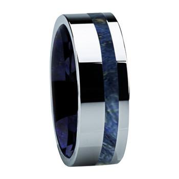8 mm Titanium with Blue Box Elder Wood & Sleeve - B122M-BlueBE-Sleeve