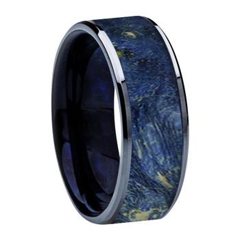 8 mm Titanium, Blue Box Elder Wood Inlay & Sleeve- K121M-Blue-Sleeve