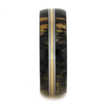 7 mm Unique Bands -  Box Elder Burl and Brass Inlay - BB596M
