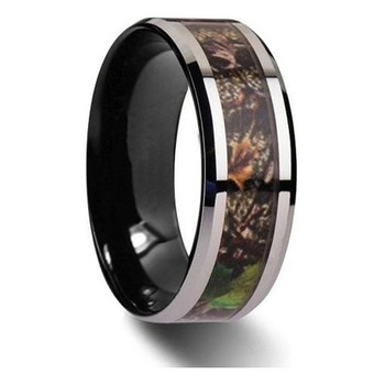 8 mm Mens Wedding Bands, Camo Inlay Tungsten - M111C