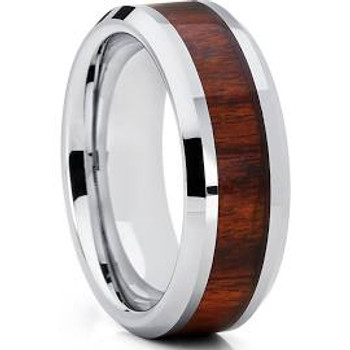 8 mm Wood Mens Wedding Bands, Tungsten - P222C