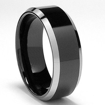 8 mm Mens Wedding Bands, Black Tungsten - K333C