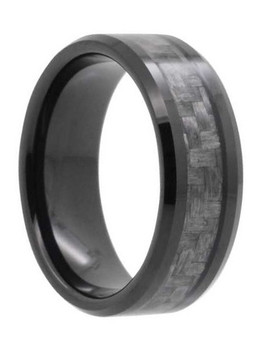 8 mm Mens Wedding Bands, Carbon Fiber in Tungsten - N555C