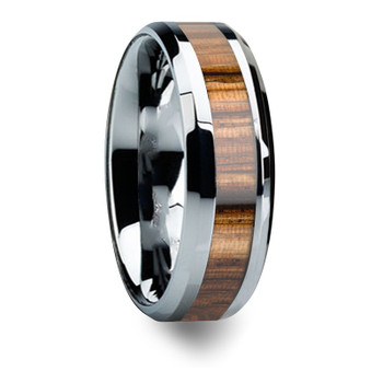 8 mm Mens Wedding Bands, Zebra Wood Inlay Tungsten - L777C