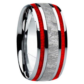 9 mm Meteorite, Mens Wedding Bands - M740FS-Red