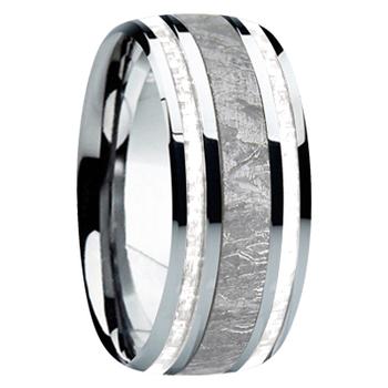 9 mm Meteorite, Mens Wedding Bands - M740FS-white